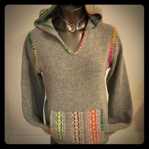 Lilu Hooded Fair Isle Sweater Pullover Embroidered